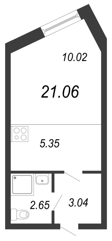 Планировка Студия площадью 21.06 кв.м в ЖК «Северный вальс»