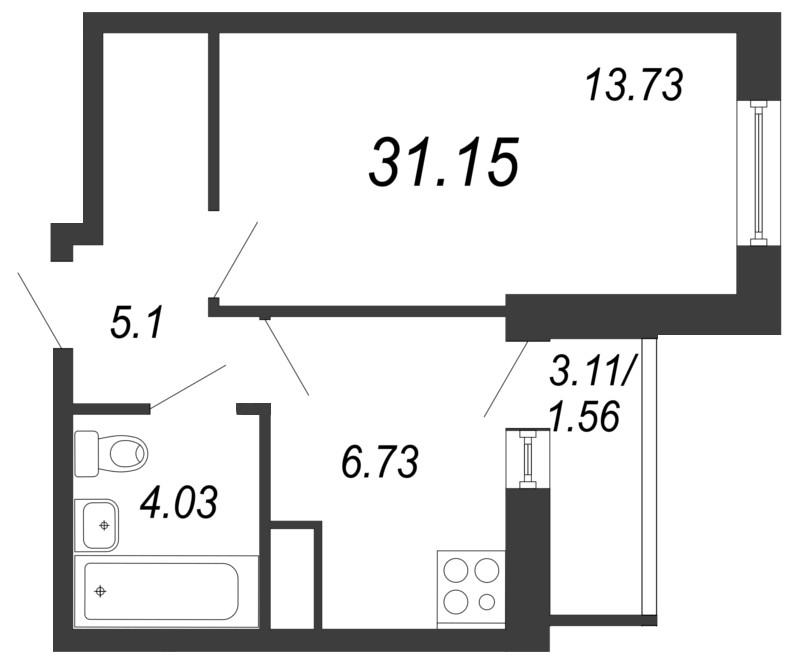 Планировка Однокомнатная квартира площадью 31.15 кв.м в ЖК «Северный вальс»