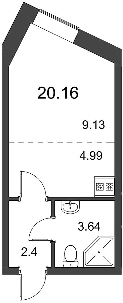 Планировка Студия площадью 20.13 кв.м в ЖК «Северный вальс»