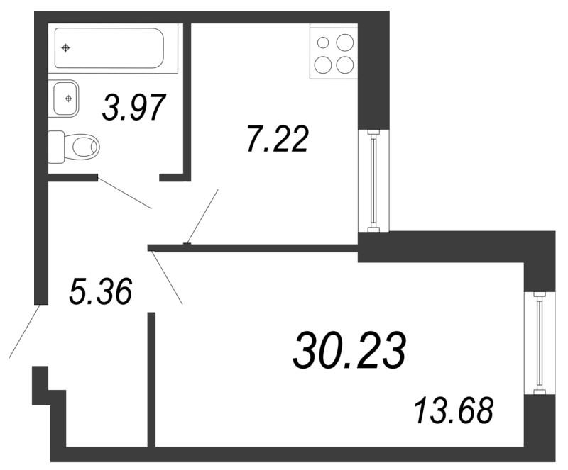 Планировка Однокомнатная квартира площадью 30.23 кв.м в ЖК «Северный вальс»